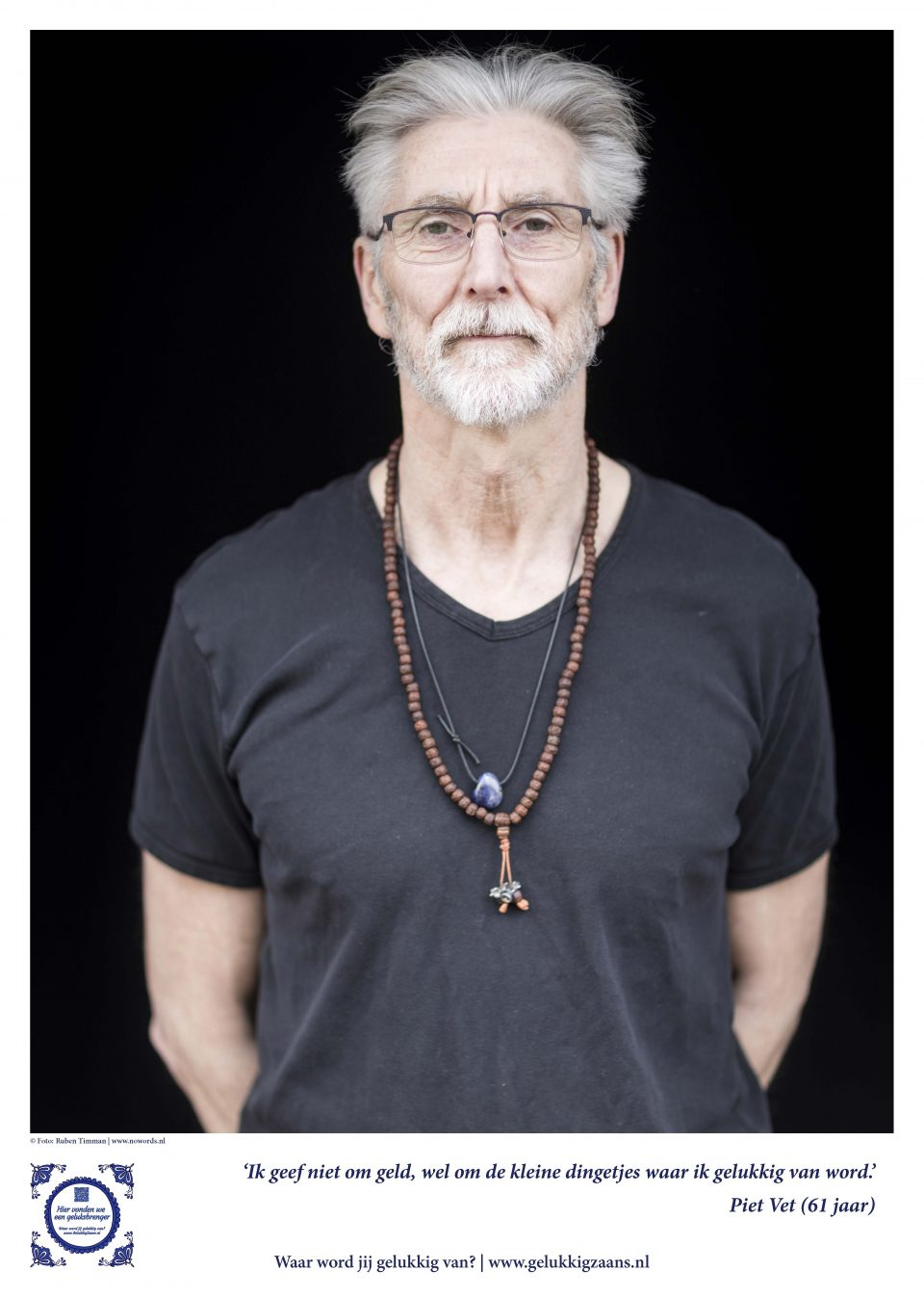Geluksbrenger Piet Vet is tevreden: 'Ik ben een vrolijk ei.'